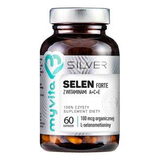 MyVita Silver, Selen (L-selenometionina) 100 mcg + witamina A C E, 60 kapsułek - zdjęcie produktu