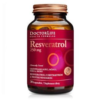 Doctor Life, Resveratrol, resweratrol z ekstratem z pestek winogron 250 mg, 30 kapsułek - zdjęcie produktu