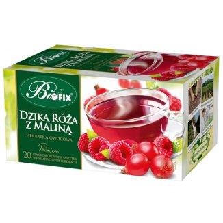 Bi Fix, Premium Dzika róża z maliną, herbatka owocowa, 20 saszetek - zdjęcie produktu
