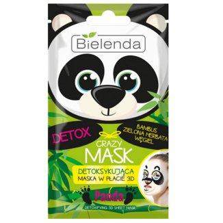 Bielenda Crazy Mask, maska detoksykująca w płacie 3D, Panda, 1 sztuka - zdjęcie produktu
