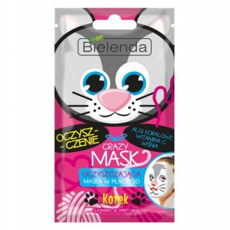 Bielenda Crazy Mask, maska oczyszczająca w płacie 3D, Kotek, 1 sztuka - zdjęcie produktu