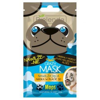 Bielenda Crazy Mask, maska nawilżająca w płacie 3D, Mops, 1 sztuka - zdjęcie produktu