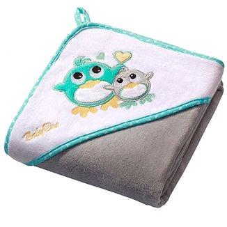 BabyOno, okrycie kąpielowe z kapturkiem, 76 x 76 cm, welurowe, szare, 1 sztuka - zdjęcie produktu