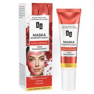 AA Carbon&Clay, maska rozświetlająca do twarzy z glinką czerwoną i kwasem taneksamowym, 30 ml - zdjęcie produktu