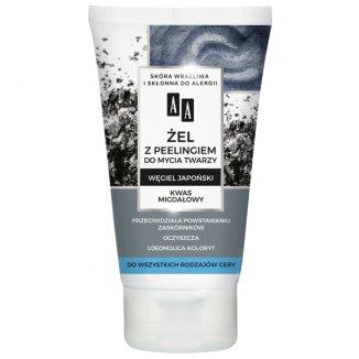 AA Carbon&Clay, żel z peelingiem do mycia twarzy, węgiel japoński i kwas migdałowy, 150 ml - zdjęcie produktu
