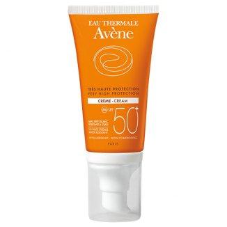Avene Sun, krem ochronny do twarzy z kompleksem antyoksydacyjnym, skóra wrażliwa, SPF50 +, 50 ml - zdjęcie produktu