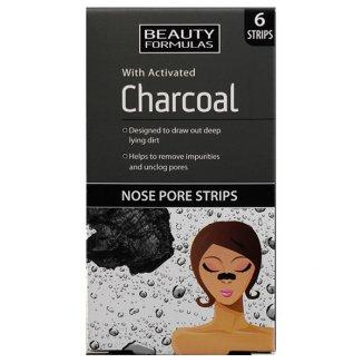 Beauty Formulas Charcoal, paski oczyszczające na nos z aktywnym węglem, 6 sztuk - zdjęcie produktu