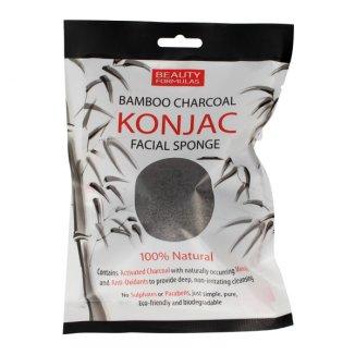 Beauty Formulas Konjac, gąbka naturalna do mycia twarzy, z węglem z bambusa - zdjęcie produktu