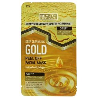 Beauty Formulas, maska do twarzy głęboko oczyszczająca, złota z kolagenem, 3 g + 10 g - zdjęcie produktu