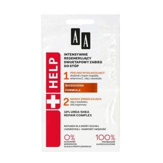 AA Help, zabieg 2-etapowy regenerujący do stóp, peeling wygładzający + maska zmiękczająca, 2 x 5 ml - zdjęcie produktu