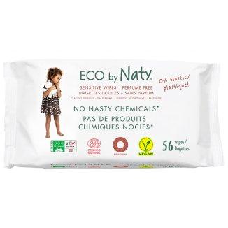 Eco By Naty, chusteczki nawilżane bezzapachowe, sensitive, 56 sztuk - zdjęcie produktu