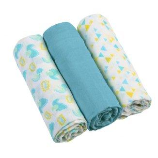 BabyOno, pieluszki muślinowe, niebieskie, 70 x 70 cm, 3 sztuki - zdjęcie produktu