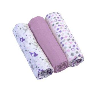 BabyOno, pieluszki muślinowe, liliowe, 70 x 70 cm, 3 sztuki - zdjęcie produktu