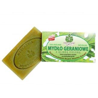 Powrót do Natury, naturalne mydło geraniowe z zieloną glinką, 100 g - zdjęcie produktu