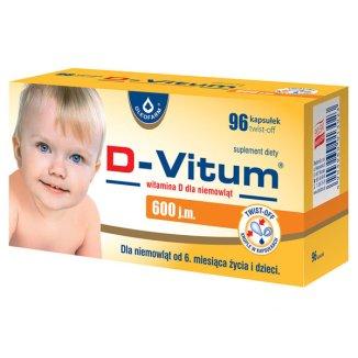 D-Vitum 600 j.m., witamina D dla niemowląt od 6 miesiąca, 96 kapsułek twist-off - zdjęcie produktu