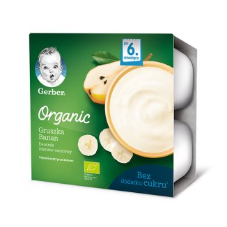 Gerber Organic, Deserek mleczny, gruszka, banan, po 6 miesiącu, 4 x 90 g - zdjęcie produktu