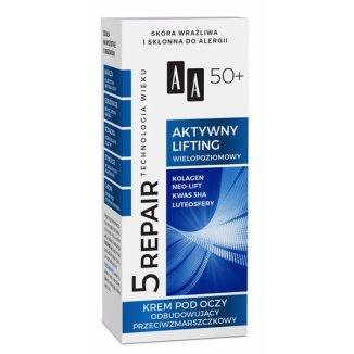 AA Technologia Wieku 5 Repair, krem odbudowujący przeciwzmarszczkowy pod oczy, 50+, 15 ml - zdjęcie produktu