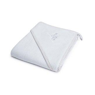 Bocioland, okrycie kąpielowe, 80 x 80 cm, bawełna 100%, ręcznik z kapturkiem, kolor szary, 1 sztuka - zdjęcie produktu