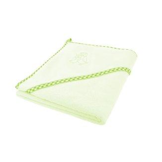 Bocioland, okrycie kąpielowe, 100 x 100 cm, bawełna 100%, ręcznik z kapturkiem, kolor zielony, 1 sztuka - zdjęcie produktu