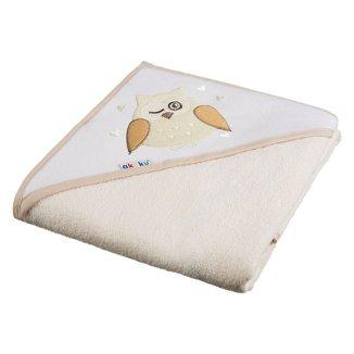 Akuku, okrycie kąpielowe z kapturem, 100 x 100 cm, 100% bawełny, ecru sowa, 1 sztuka - zdjęcie produktu