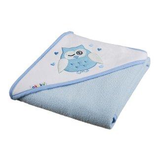 Akuku, okrycie kąpielowe z kapturkiem, bawełna, 100 cm x 100 cm, niebieskie, Sowa, 1 sztuka - zdjęcie produktu