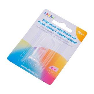 Akuku, silikonowa szczoteczka do zębów i masażu dziąseł A0393, od urodzenia, 1 sztuka - zdjęcie produktu