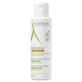 A-Derma Exomega Control, pieniący się żel emolient, skóra sucha  i skłonna do atopii, 500 ml - zdjęcie produktu