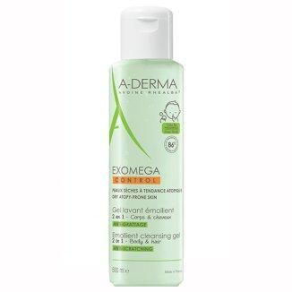A-Derma Exomega Control, żel emolient do mycia ciała i włosów 2w1, 500 ml - zdjęcie produktu