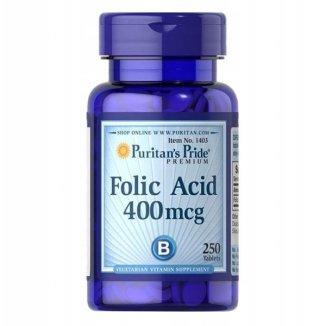 Puritans Pride Folic Acid, kwas foliowy 400 µg, 250 tabletek - zdjęcie produktu