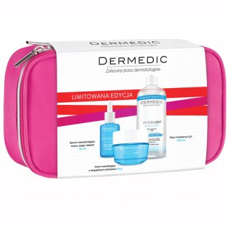 Dermedic Hydrain 3, serum nawadniające do skóry suchej, 30 ml + krem nawilżający SPF15, 50 g + płyn micelarny H2O, 500 ml + kosmetyczka - zdjęcie produktu