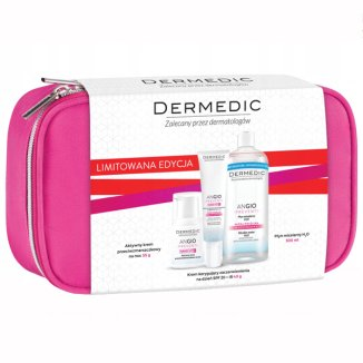 Dermedic Angio Preventi, krem aktywny, 55 g + krem ultrakojący, łagodzący zaczerwienienie, 40 g + płyn micelarny do skóry wrażliwej, 200 ml KRÓTKA DATA - zdjęcie produktu