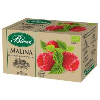 Bi Fix, Malina, ekologiczna herbatka owocowa, 25 saszetek - zdjęcie produktu