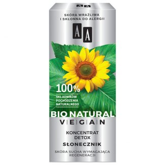 AA Bio Natural Vegan, koncentrat Detox Słonecznik, do skóry suchej, 15 ml - zdjęcie produktu