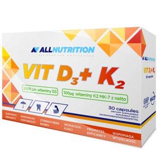 Allnutrition Vit D3 + K2, witamina D 2000 j.m. + witamina K 100 µg, 30 kapsułek - zdjęcie produktu