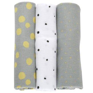 Motherhood, pieluszki bawełniane 70 x 80 cm, kropy musztardowe, 3 sztuki - zdjęcie produktu