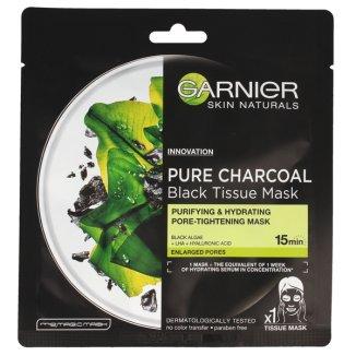 Garnier Skin Naturals, Pure Charcoal, oczyszczająca maska do twarzy na tkaninie, 28 g - zdjęcie produktu