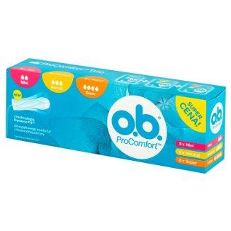 Tampony higieniczne OB ProComfort Trio, Mini, 8 sztuk + Normal, 8 sztuk + Super, 8 sztuk - zdjęcie produktu