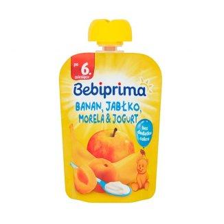 BebiPrima, Deserek w tubce, jabłko, banan, morela, 90 g - zdjęcie produktu