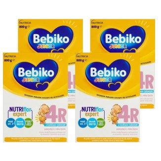 Zestaw Bebiko Junior 4R Nutriflor Expert, mleko modyfikowane z kleikiem ryżowym, powyżej 2 roku, 4 x 800 g - zdjęcie produktu