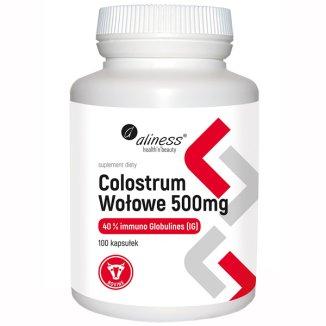 Aliness Colostrum Wołowe 500 mg IG 40%, 100 kapsułek - zdjęcie produktu