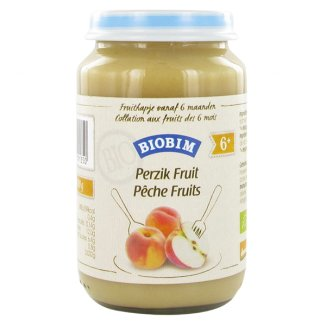 Biobim Deserek owocowy ekologiczny Bio, jabłko z brzoskwinią, po 6 miesiącu, 200 g - zdjęcie produktu