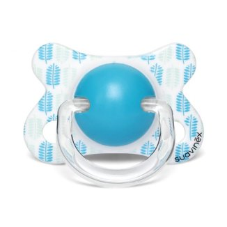 Suavinex, smoczek silikonowy, anatomiczny, dla wcześniaków i noworodków, niebieskie listki, 2-4 miesiąca, 1 sztuka - zdjęcie produktu
