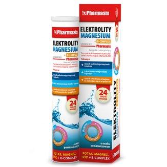 Elektrolity Magnesium + B-Complex Pharmasis, smak pomarańczowy, 24 tabletki musujące - zdjęcie produktu