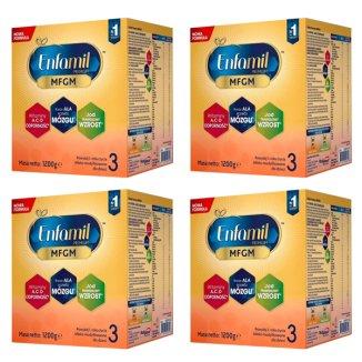 Enfamil 3 Premium MFGM, mleko modyfikowane w Proszku, powyżej 1 roku, 4 x 1200 g - zdjęcie produktu