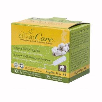 Tampony bawełniane organiczne Masmi Silver Care, bez aplikatora, Regular, 18 sztuk - zdjęcie produktu