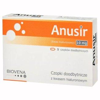 Biovena Anusir, czopki doodbytnicze z kwasem hialuronowym, 5 sztuk - zdjęcie produktu