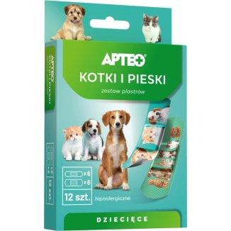 Apteo, plastry dla dzieci, hipoalergiczne, kotki i pieski, 12 sztuk - zdjęcie produktu