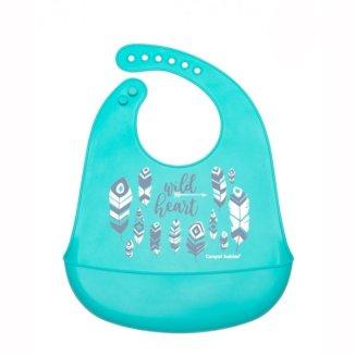 Canpol Babies, śliniak silikonowy z kieszenią, Wild Nature, niebieski, 1 sztuka - zdjęcie produktu