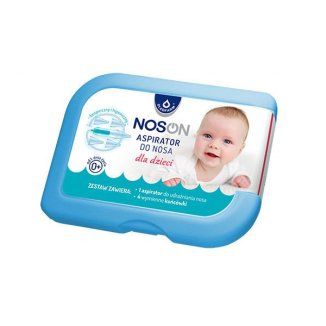 Aspirator do nosa Noson, dla dzieci od 1. dnia życia, 1 sztuka + wymienne końcówki, 4 sztuki - zdjęcie produktu