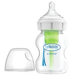 Dr Brown's Options+, butelka antykolkowa z szeroką szyjką, ze smoczkiem, poziom 1, 0-3 miesięcy, 150 ml - zdjęcie produktu